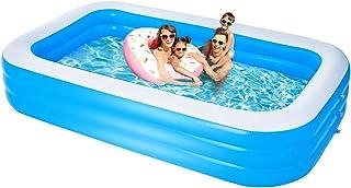 充气游泳池,大号家庭游泳池 120 英寸 X 72 英寸 X 24 英寸(约 33.0 X 182.9 X 61.0 厘米),适合儿童和成人的充气游泳池,加厚耐充气休闲游泳池,适用于户外/花园/后院/户外夏季水上派对