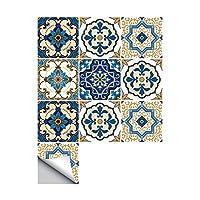 10 件 Porto 传统瓷砖贴纸方形瓷砖防水浴室厨房装饰墙贴 摩洛哥风格 6x6 inch(15x15CM) 43398-22259