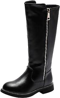 PPXID 女孩时尚皮革过膝高筒靴保暖雪地靴防水马靴