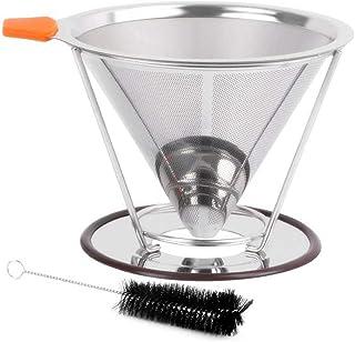 CHUANGYI HOME Pour Over 咖啡滴滤器 不锈钢慢滴滤咖啡过滤器 金属锥体 可重复使用 单杯咖啡机 1-2 杯带防滑杯架 清洁刷和勺子