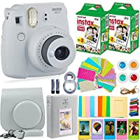 FujiFilm Instax 迷你 9 相机配件包 - 相机、即时胶片(40 张),便携包、彩色滤镜、相册、贴纸、自拍镜头 + 更多WHITE FUJI WITH 40 FILM *白色