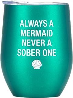 美人鱼Sober One Teal 12 盎司不锈钢保温酒杯带盖子