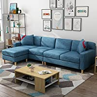 【新年爆款秒杀直降价低至1499元】 赞居 沙发布艺沙发北欧日式客厅小户型沙发组合 【送货上门】 (蓝色, 四人位+脚踏)