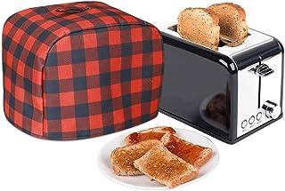 """2 片烤面包机盖,厨房必备设备防尘盖,防水牛津布面料,大号尺寸11""""X8""""X8""""英寸(约27.9X20.3X20.3厘米),防尘和防指纹,适合大多数主要 2 片烤面包机,水牛格纹印花"""