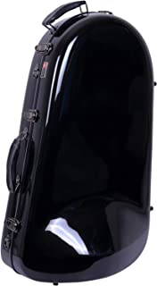 Crossrock 法式喇叭壳,玻璃纤维硬壳钟形可拆卸硬质保护壳带背包CRF1000EUHDBK Euphonium Fiberglass Case