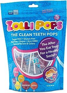 Zollipops 持久性清潔牙齒污染物,抗蛀牙棒棒糖,各種美味口味,75支