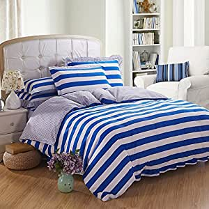 璟雯 家纺 全棉韩版床裙式花边四件套 纯棉公主床上用品 2.0m(6.6英尺)床 蓝白