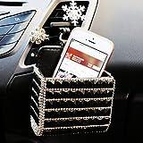 Lzttyee 闪耀设计汽车通风口收纳袋口袋手机挂架,适用于手机/笔/手机/钥匙/眼镜 黑色
