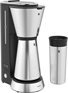 WMF 福腾宝 Küchenminis Aroma 过滤式咖啡机 带保温壶(750 毫升)和随行保温杯(350毫升) 24 小时定时器 小巧 便捷设计 Cromargan 材质