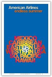 """无限期夏日 - 美国航空公司 - 墨西哥、加勒比、美国、南太平洋,夏威夷 - 复古航空旅行海报 c.1971 - 艺术大师印刷 12"""" x 18"""" PRTB8145"""