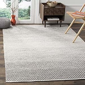 Safavieh Montauk Collection MTK601B 手工平纹编织蓝色和象牙色棉方形小地毯