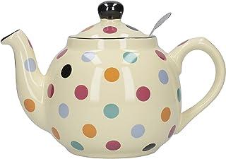 Globe London Pottery 2 Cup Multi Colored Spots on Ivory Filter Teapot 17272190