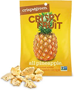 Crispy Green Freeze-Dried Fruits, Non-GMO, Gluten Free, No Sugar Added, Pineapple, 0.36 Ounce (12 Count)