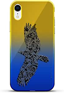 奢华设计师,3D 印花,时尚,高端,高端,Chameleon 变色效果手机壳 iPhone XrLUX-IRCRM2B-BIRDS4 ANIMALS: Artistic Paisley Bird 蓝色(Dusk)