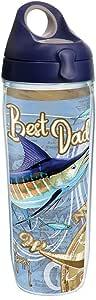 Tervis 1262916 Guy Harvey - Best Dad 航海隔热玻璃杯,带包装,16盎司 透明 24 oz Water Bottle 1262919