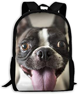 趣味波士顿梗独特户外肩包面料背包多用途成人背包 Funny Boston Terrier 均码