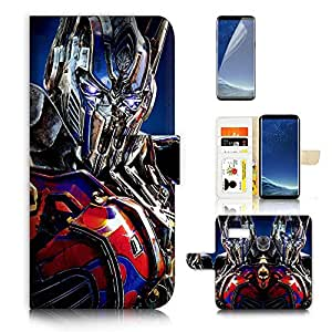( For Samsung S8 , Galaxy S8 ) Flip Wallet Case Cover & Screen Protector Bundle - A21294 Transformers Optimus Prime