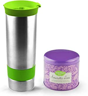 Asobu Hot Press Bottle with Amaretto Love Tea, 16-Ounce, Stainless Steel/Lime