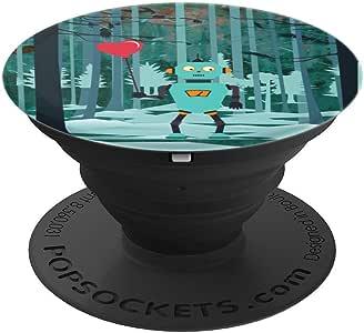 Robot Looking For Love 卡通设计 - PopSockets 手机和平板电脑抓握支架260027  黑色