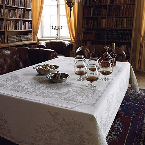 スウェーデンEkelundヨーロッパのコットンリネンテーブルクロスノルディックガーデンジャカード白い長方形のテーブルクロステーブルマット(テーブルクロス150 * 230 cm、狩猟テーブルクロス)