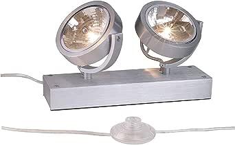 SLV 147296 KALU FLOOR 2 标准灯,芦荟刷,2xG5,3,*大 2x50W,铝,银灰色,
