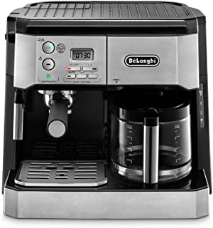 De'Longhi 德龙 BCO430组合泵式意式咖啡机 10杯滴滤咖啡机,配有发泡棒,银色和黑色,需配变压器