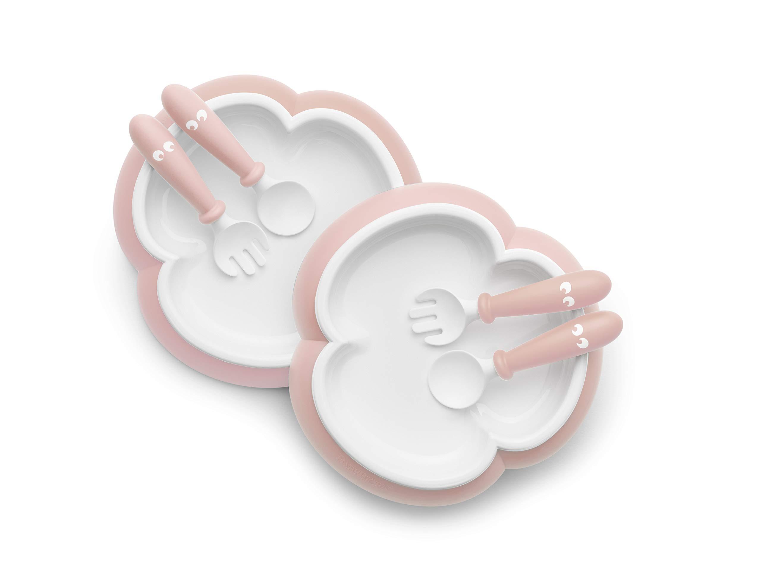 BABYBJÖRN 婴儿餐盘,勺子和叉子,2 套 粉红色