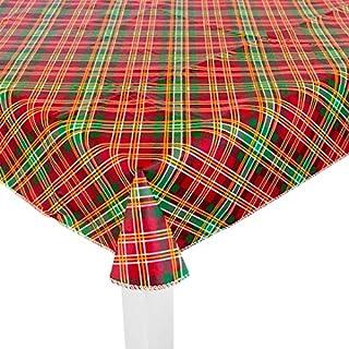St. Nicholas Square 圣诞季节性品红桌布、餐垫、手巾、花环、晚餐盘、甜点盘、鸡尾酒餐巾和纸杯蛋糕杯(红*方格桌布)