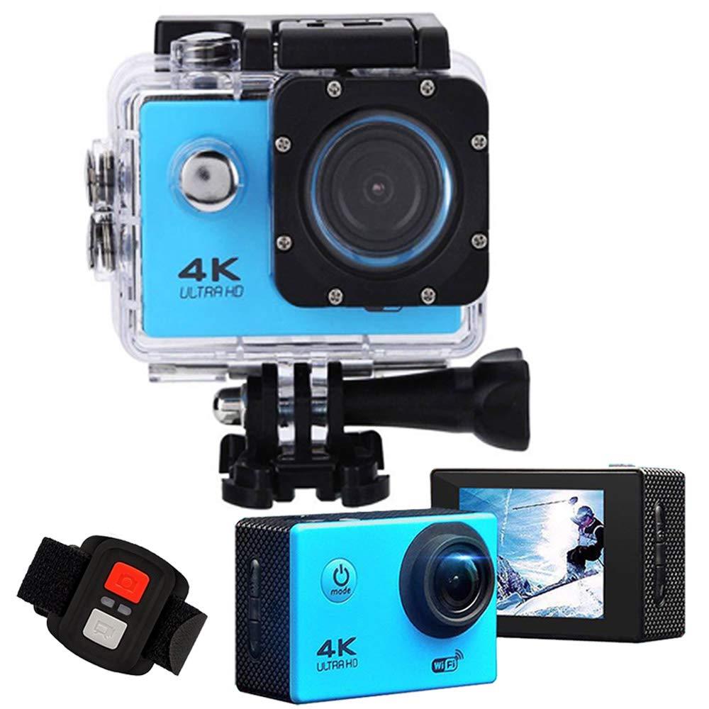 モーションカメラの記録HD 4KマシンのWiFi防水DVカメラ16、融点170°の広角2インチの液晶画面19 2.4Gリモートマウントキットには、屋外の極端なスポーツのための4K 60x41x25mmブルーをデザイン