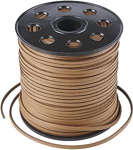 Beadthoven 1 卷仿麂皮绒绳,单面覆盖仿皮,系带扁平皮绳,2.7x1.4 毫米,约 90 米/卷 Sienna LW-R006