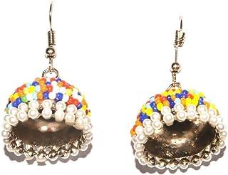 Efulgenz 波西米亚复古古董吉普赛部落印度氧化银多色串珠吉普赛耳环套装珠宝