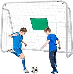 VIVOHOME 4 x 3 英尺运动足球曲棍球门适用于后院铁杆,适用于所有天气的抗性网眼儿童中心球门