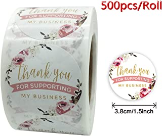 花朵 感谢 贴纸卷 3.81 厘米 Floral Business Sticker