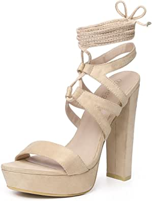 Allegra K 女士厚底系带系带凉鞋 米色 7 M US