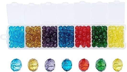 pandahall1box ( 关于378pcs / 盒 ) 6X 4mm 7色刻面 Abacus * suncatcher 玻璃珠适用于 DIY 珠宝工艺品挂坠