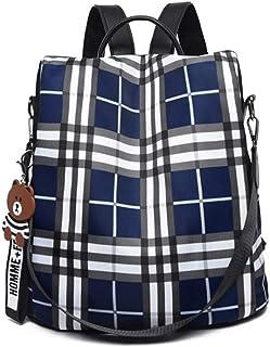 韩国风格学院防盗格子背包钱包女式旅行背包单肩包 S2_blue One_Size