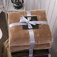 J.H.Longess 纯色菠萝格盖毯加厚法莱绒毛毯珊瑚绒四季毯子沙发盖毯单双人午睡毯 (Tk.菠萝格毯-驼色, 120 * 200cm/0.72kg)