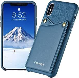 适用于 iPhone X 的 Cassenger 卡套,正品意大利皮革钱包式手机壳,带 2 个卡槽手机套,适用于 iPhone Xs 5.8 英寸 蓝色