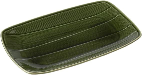 光阳陶器 中盘子 日式餐具 笹菜板 织部 笹いくえプレート 織部 30741