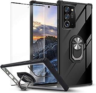 Newseego 兼容三星 Galaxy Note 20+ 手机壳,双层 2 合 1 和 360 度旋转金属环支架带钢化玻璃屏幕保护膜【1 件装】 - 黑色
