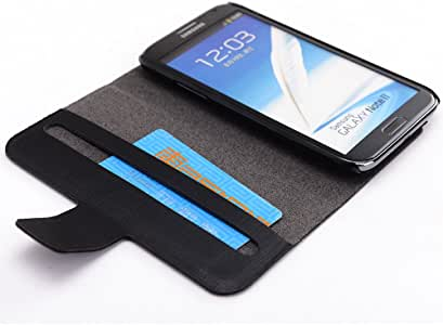 Kroo Slim Folio Case for Samsung Galaxy Note 2-1 Pack - Frustration-Free Packaging - Black