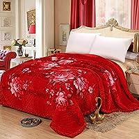 可慕家纺 奢华系列 9斤拉舍尔双层加厚双人毛毯 冬用婚庆毛毯J (200*230cm, 1043大红)