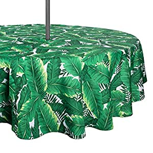 """DII 100% Polyester, Spill proof, Machine Washable, Zipper Tablecloth for Outdoor Use With Umbrella Covered Tables, 52"""" Round, Banana Leaf, Seats 4 People"""