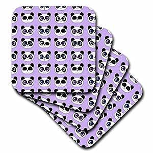 3dRose cst_175377_1 Cute Panda Expressions Pattern Purple Soft Coasters (Set of 4)