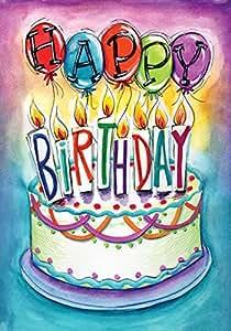 Toland Home Garden Birthday Wishes 12.5 x 18 Inch Decorative Celebrate Party Cake Balloon Garden Flag