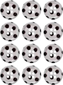 Mibo 尼龙纽扣降噪打印黑色圆点白色图案 4 孔带轮缘 黑色/白色 18mm ZZC_MIB_SS16_5972PD_28BW