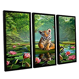 "ArtWall 3 Piece ""Jerry Lofaro's Tiger Lily"" Floater Framed Canvas Artwork, 24"" x 36"""