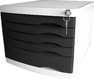 "Helit H6128295 - 抽屉盒""the safe"" 可锁定 5 个抽屉 适用于 DIN A4规格,黑色,1件"