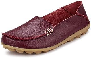 Ablanczoom 女式舒适皮革花卉印花平底鞋休闲驾驶乐福鞋女式步行鞋 酒红色 1 12.5
