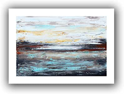 ArtWall Jolina Anthony 'Abstract Cold' Unwrapped Flat Canvas Artwork, 16 by 22-Inch